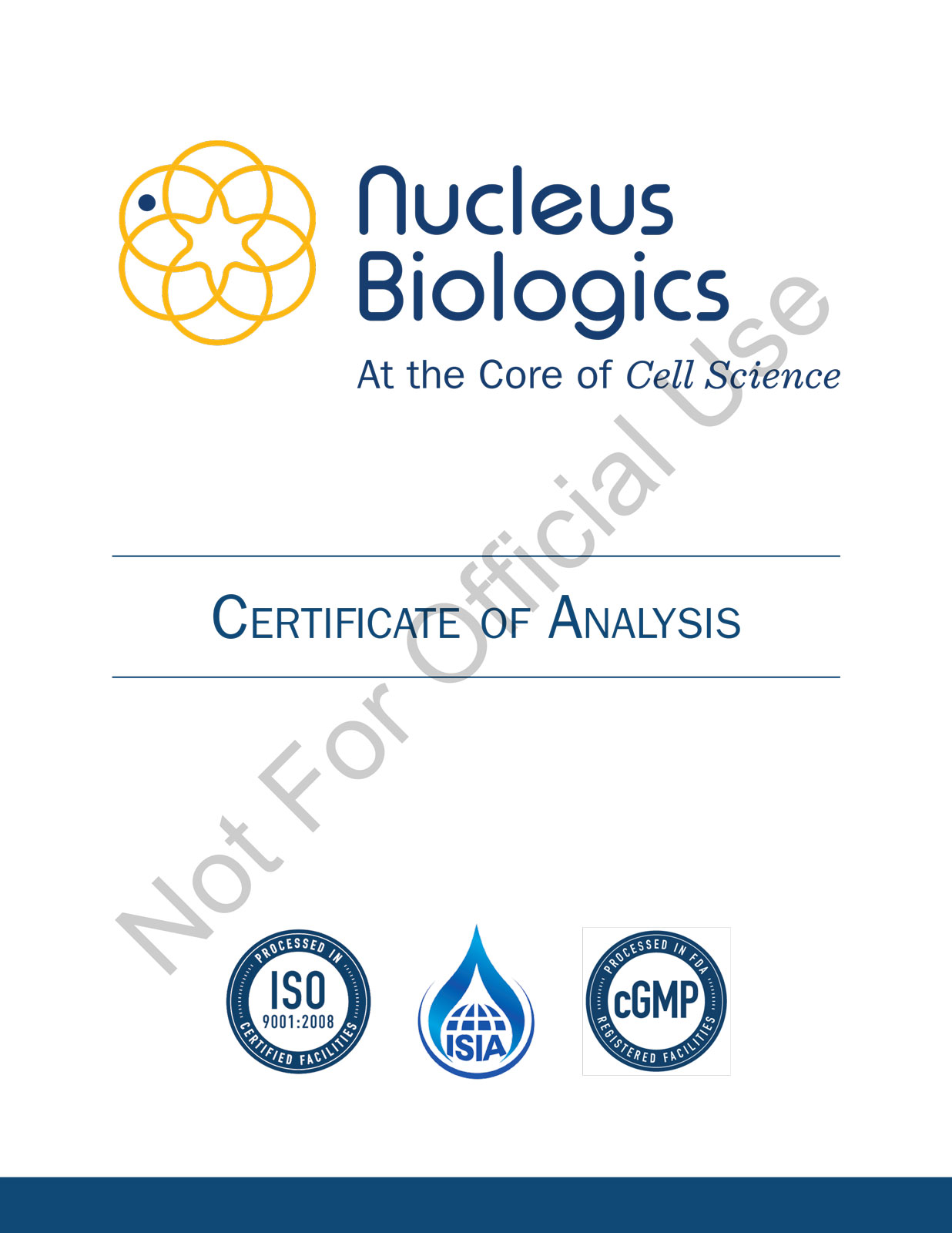 Sample Certificate of Analysis