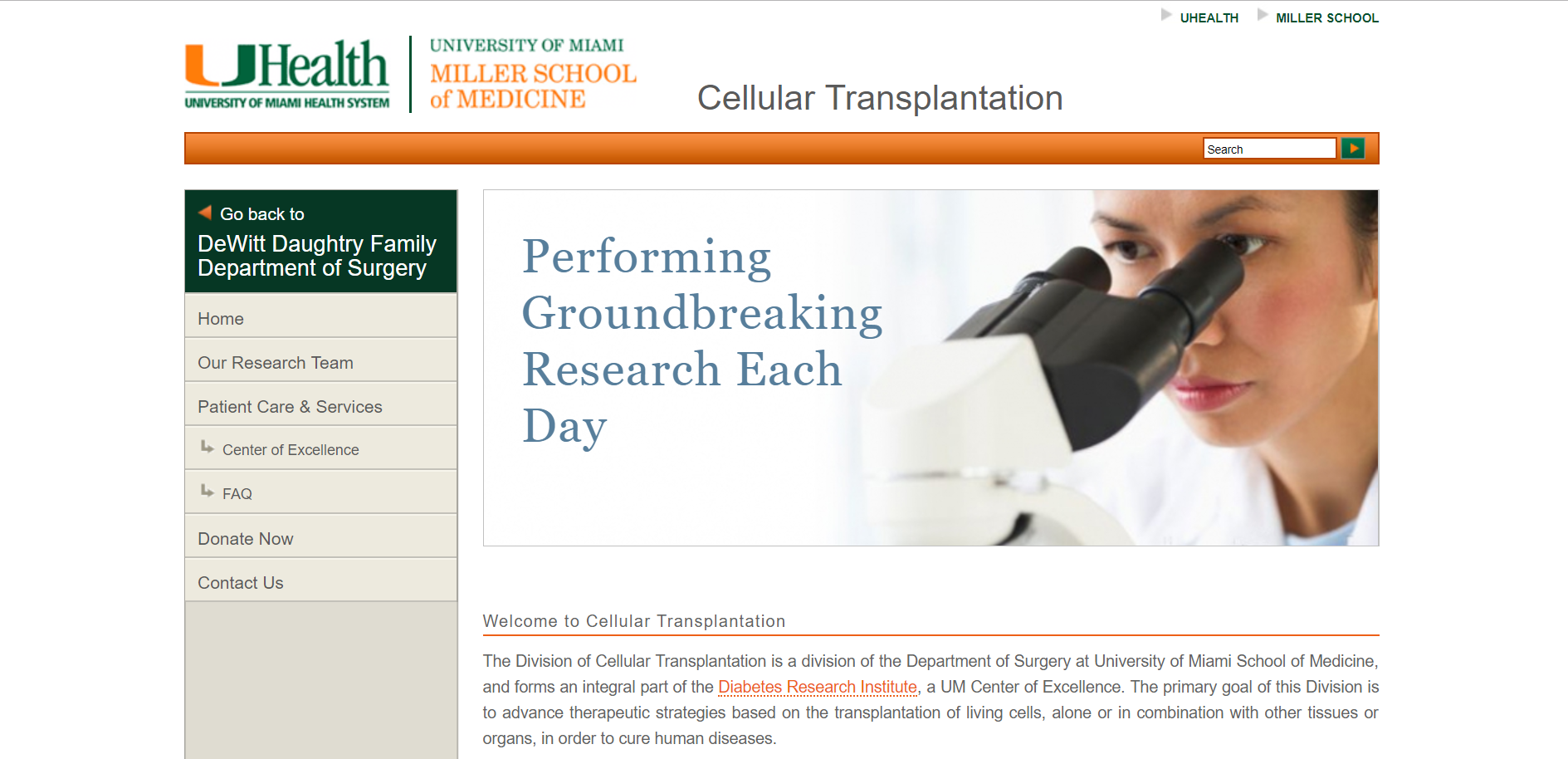 University of Miami Miller School of Medicine, Welcome to Cellular Transplantation