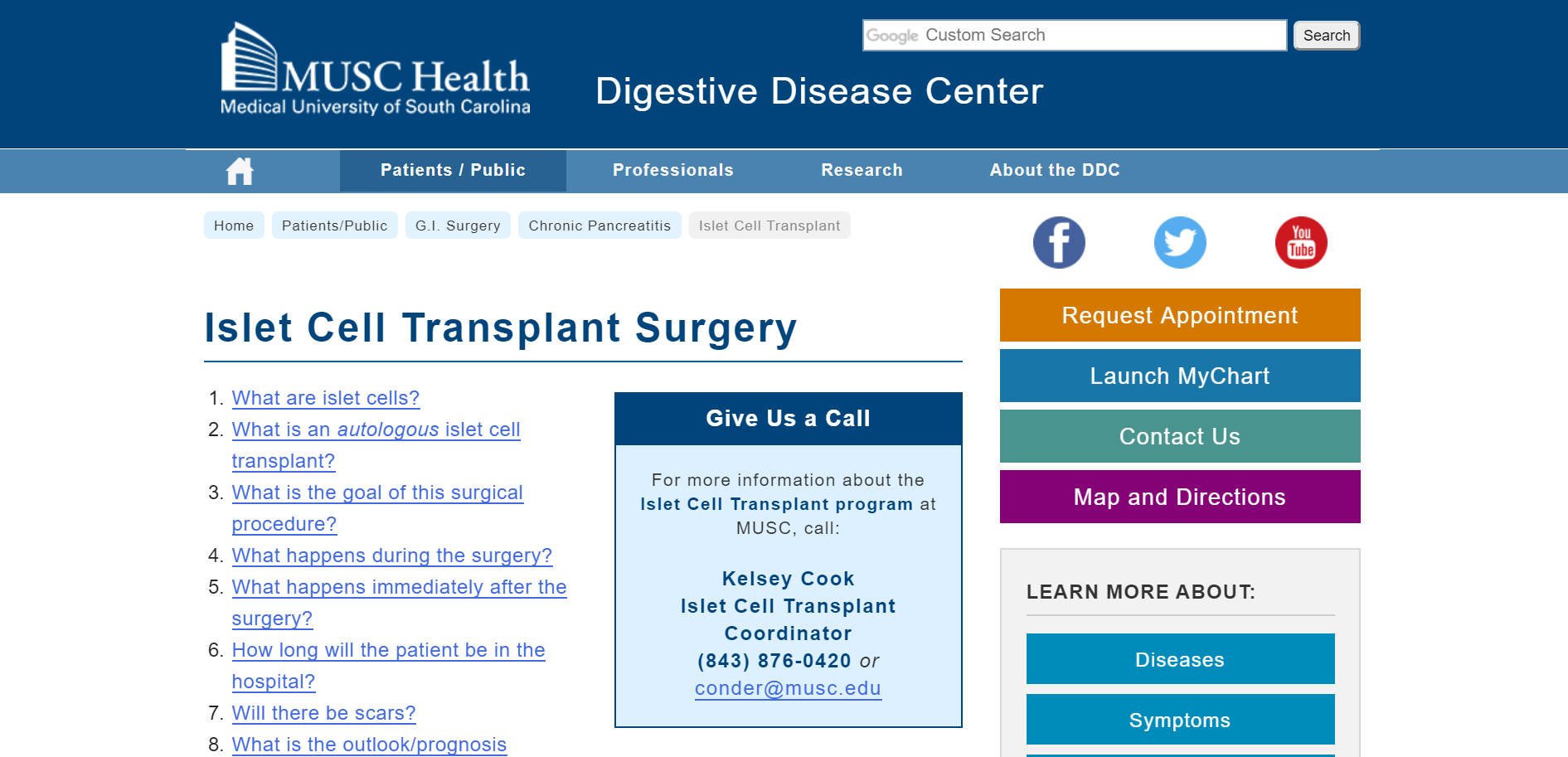 Medical University of South Carolina, Digestive Disease Center, Islet Cell Transplant Surgery
