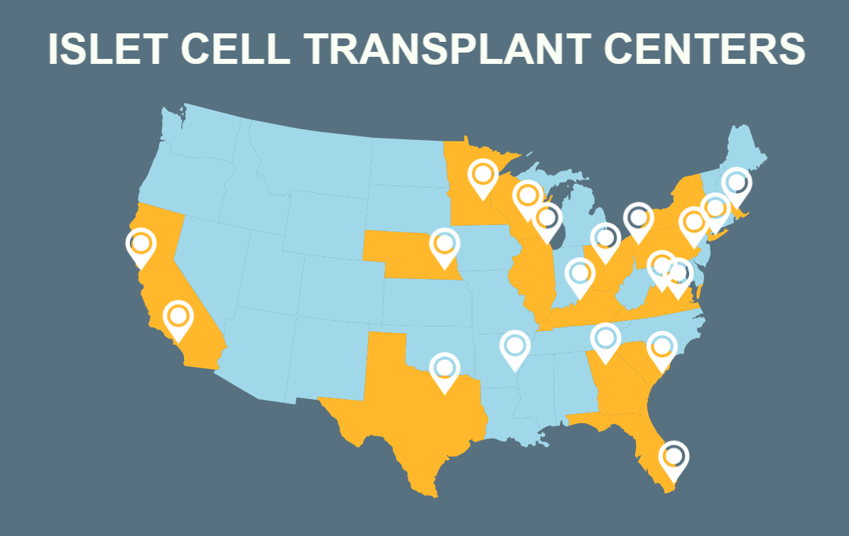 Islet Cell Transplant Center Map
