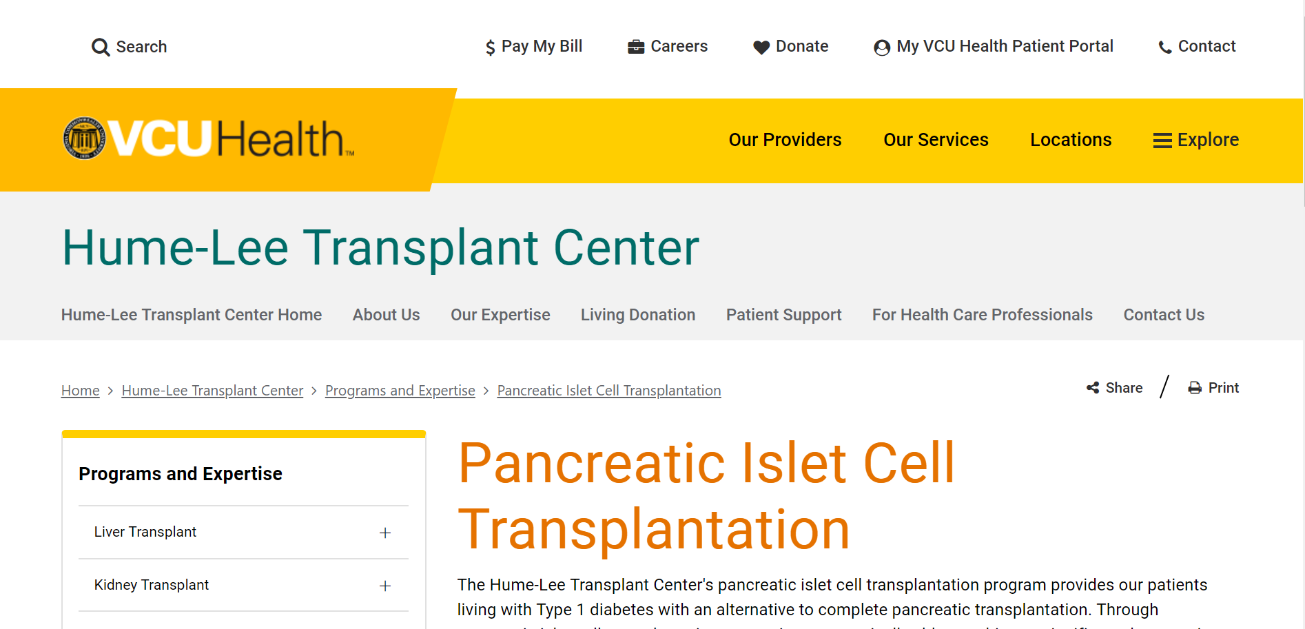 Virginia Commonwealth University Health, Hume-Lee Transplant Center, Pancreatic Islet Cell Transplantation