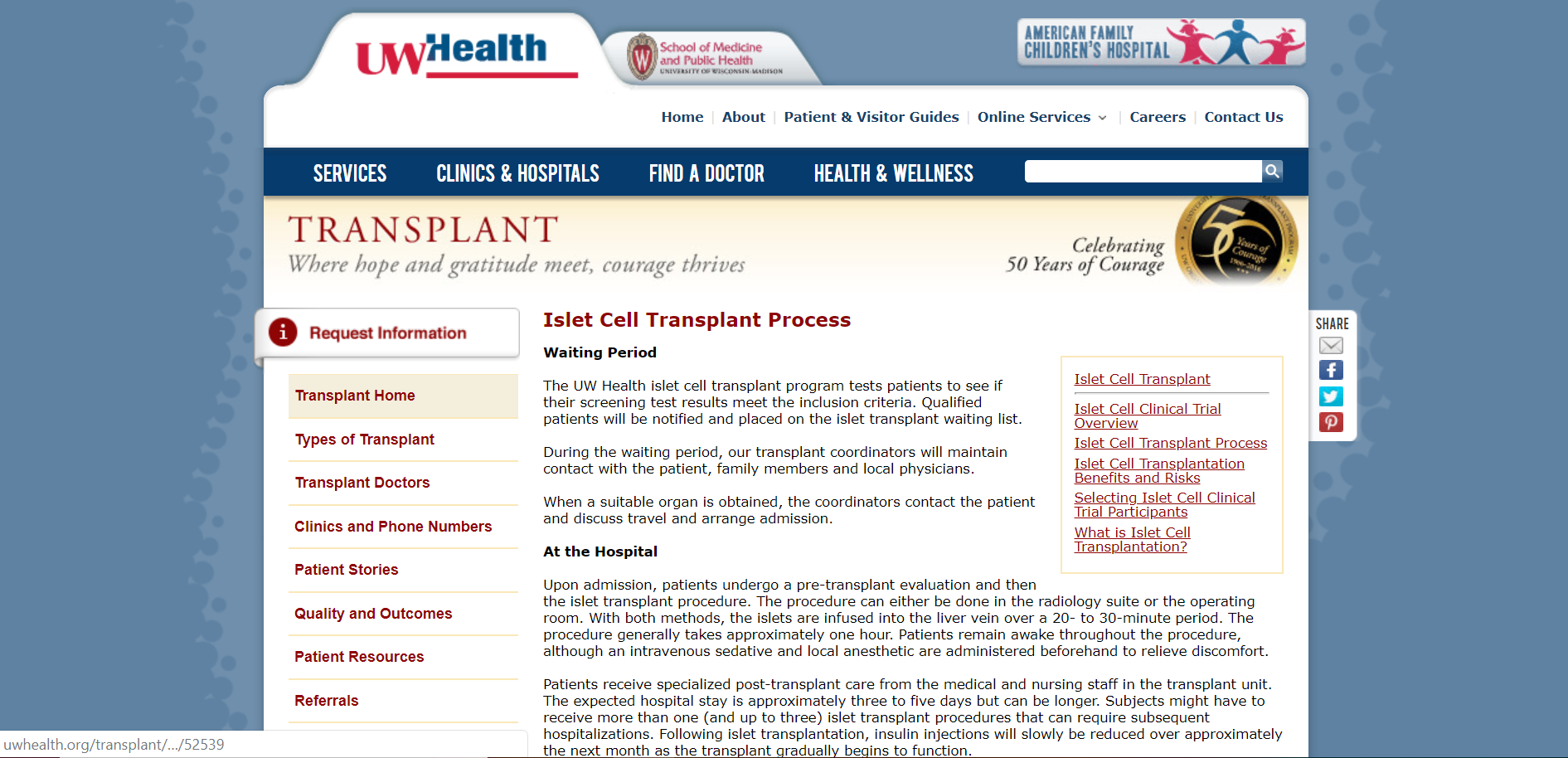 University of Wisconsin Health Islet Cell Transplant Process